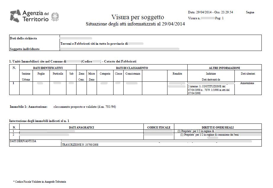 Visura catastale nazionale tecnicoweb - Visura storica per immobile gratis ...