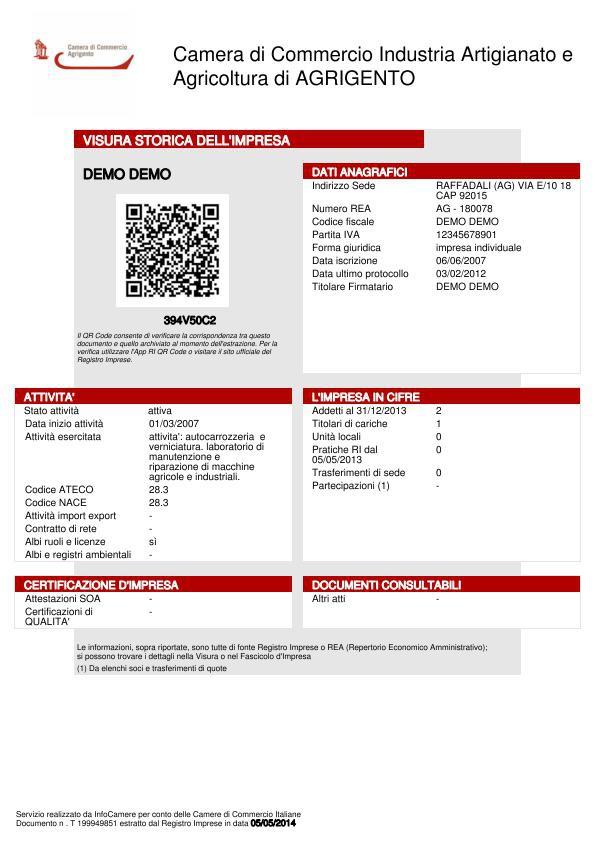 Visura camerale storica a 12 90 tecnicoweb - Visura storica per immobile gratis ...